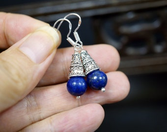 Natural Lapis Lazuli Earrings Sterling Silver Lapis Earrings Lapis Lazuli Healing
