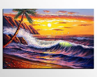 Abstract Art, Seascape Painting, Original Wall Art, Canvas Painting, Large Painting, Sunrise Painting, Abstract Painting, Large Art