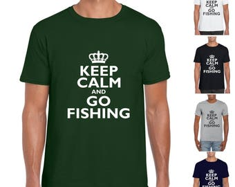 Keep Calm And Go Fishing Mens/Adults Novelty Tshirt - Fishing Fan Angling Fan Fishing Lover Fisherman