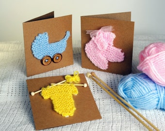 New baby card knitting pattern / Baby shower invitation / Pregnancy announcement  / Baby girl card / Baby boy card / Baby anouncement