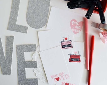 Valentines, Holiday Gift tags, Mini Cards, Mini Note cards,You are Loved, XO, Typewriter, love notes  2.75 x 4.25 inches