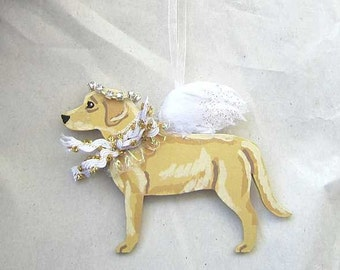 Hand-Painted LABRADOR RETRIEVER YELLOW Feathered Wing Angel Wood Ornament...Artist Original