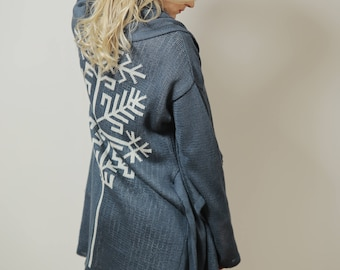 Linen cardigan AUSTRAS TREE* blue
