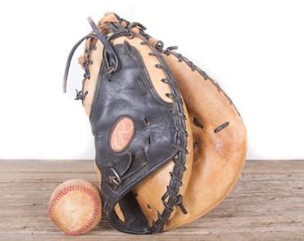 Old Vintage Leather Baseball Glove / Rawlings Catchers Mitt Baseball Glove / Antique Baseball Glove / Old Glove Antique Mitt /Baseball Decor