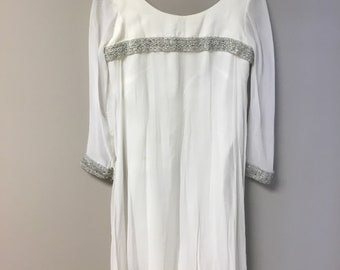 Beautiful Vintage Ethereal White and Silver Sheath Dress with Long Sleeves | Boho| Festival| Wedding Dress
