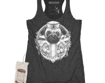 Pug Dog Shirt - Women's Sailor Art Shirt Tank Top