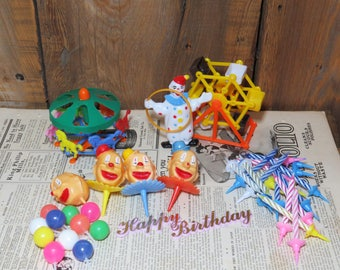 Circus Cake Decorations- Big Lot of Clowns, Carousel/Merry Go Round, Ferris Wheel, Clown Heads, Balloons, Candles/Candle Holders  HONG KONG
