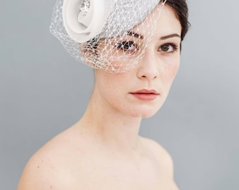 Flower Crin Pillbox Fascinator Silver Off-white veiling with Swarowski Rhinestones