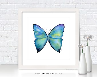 Blue BUTTERFLY Painting, Butterfly Art, Butterfly Print, Original Butterfly Watercolor, Butterfly Greeting Cards, 02 Morpho Aega Butterfly