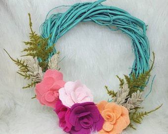 Spring mini wreath with felt flowers and ferns,  8 inch wreath, spring wreath, aqua and pink wreath, spring decor, easter wreath
