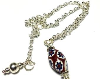 """Red Milefiorri Glass Bead Anklet, Ankle Bracelet, 10"""" Silver Tone (ET9-15)"""