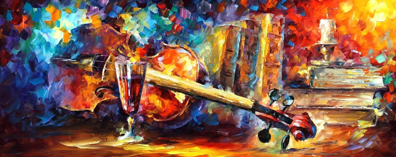 Still Life Old Thoughts Violin And Wine Wall Art Oil