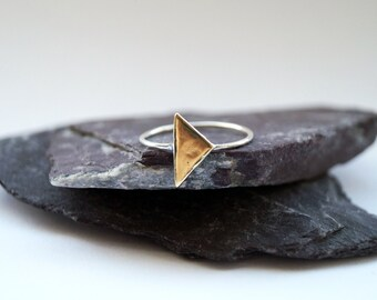 Skinny Triangle Sterling Silver Ring ~ stacking ring, triangle, geometry, brass