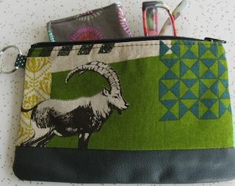 Vegan Leather Clutch - Goat Handbag - Ram Gift - Echino fabric bag