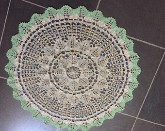 Vintage Lace Crochet Doily.  Made in the 1930's.  Green / Hint of Pink