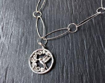 Silver hummingbird necklace, unique hummingbird jewelry