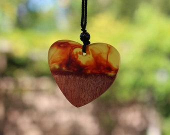 Mother Nature's Crystal Wood Resin Heart Red Spirit Necklace