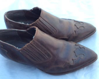 Vintage ankle cowboy boots shoes 70s 80s leather distressed size 8