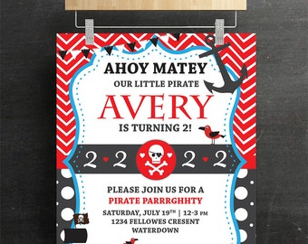 kids Birthday Party Invitations and Thank you Card, Digital, Printable, Pirate Theme, Print, DIY
