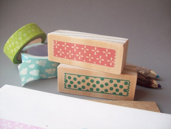 Washi Tape Rubber Stamps Set of 2, Snail Mail Pretty Packaging