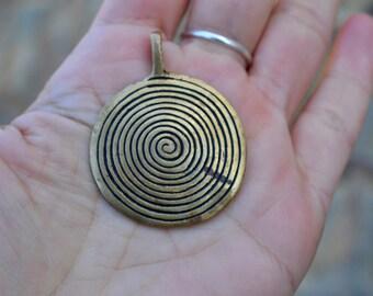 Tribal spiral pendant brass focal bead, large ethnic primitive warrior discs sacred labyrinth birth necklace