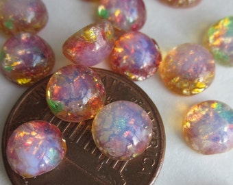 Vintage Tiny Round Fire Opal Glass Cabochon