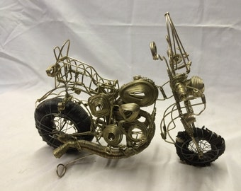 "Vintage Handnade Metal Wire Art Motorcycle Sculpture 14"" w FREE Shipping"