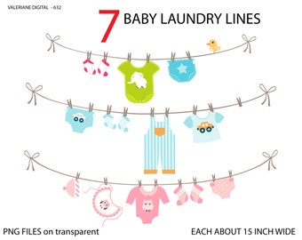Baby laundry line clipart, baby clothes line clip art, clipart for invitations, scrapbooking - 7 PNG  - INSTANT DOWNLOAD Pack 632