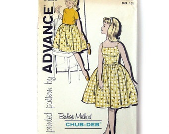 1960s Girls Sundress with Full Skirt and Jacket - Advance 9850 Vintage Sewing Pattern / UNCUT FF / Size 10.5 Chub-Deb