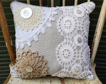 Decorative Shabby Chic  Pillow Mixed Vintage Doilies, Beautiful Vintage Buttons, taupe Linen, Linen Back