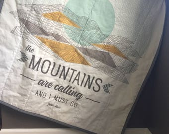 Baby Quilt- Woodland Theme Nursery- The Mountains are Calling- Baby Blanket- Crib Quilt- Woodland Baby