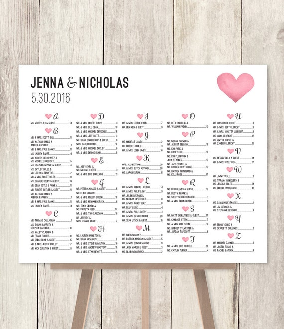 alphabetical seating chart sign diy    wedding seating chart