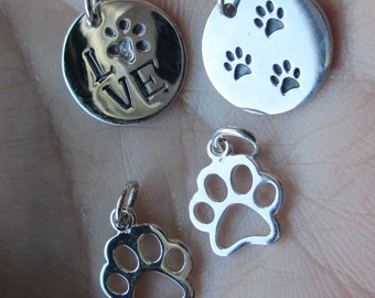 Sterling Silver Round Tag with Three Paw Prints(one), Round tag with Love(one), or two Paw Print charms(two)