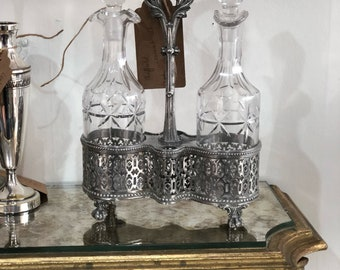 Sheffield silver plate cruet set