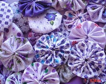 "40 Purple Mix Assortment Fabric Yo Yo Applique Quilt Suffolk Puff 2"" Handmade"