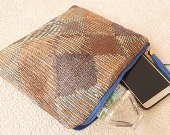 CLEARANCE - Blue diamond upholstery pouch, makeup bag, travel item essential