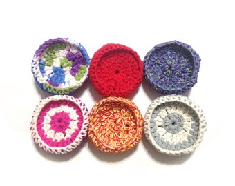 Assorted Cotton And Nylon Netting Dish Scrubbies-Mystery Lot Of Six