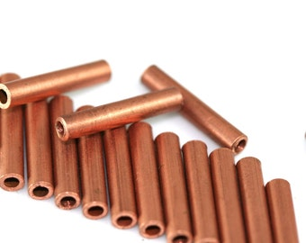 raw copper tube 25 pcs 17 x 3 mm (hole 2 mm ) industrial charms, pendant, findings spacer bead