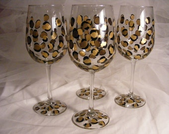 elegant painted wine glasses with gold leopard print design - set of 4  oversize white wine glasses custom colors available for wedding gift