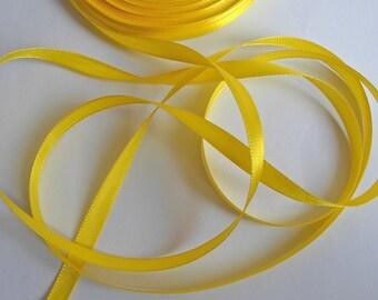 1 reel x 25 Yards(22 meters) Yellow Satin Ribbon 6mm Craft/Sewing/Wedding/Flower