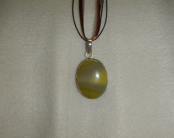 PAY IT FORWARD - Yellow banded agate pendant/necklace set in .925 sterling silver (P037)