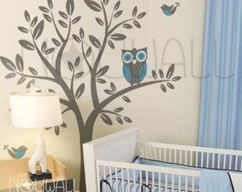 Owl on Tree wall decal Vinyl Sticker Nursery Wall Decal  - 090