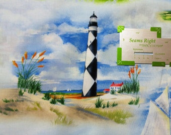 Fabric BTY Coastal Lighhouses and Sailboats