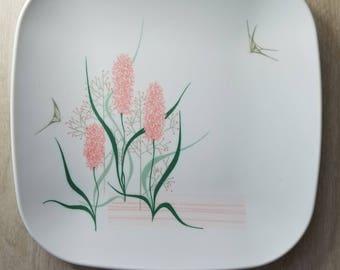 """Vintage Melmac Brookpark """"Pink Hyacinth"""" Dinner Plates"""