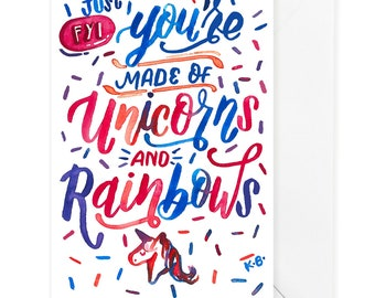 Unicorns Rainbows, Funny Love card, Love Card, Card for Him, Love quotes, Anniversary Card, Valentine, Valentines Day Card, I love you card