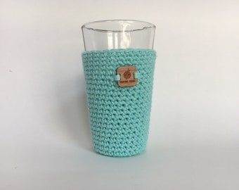 Pint Glass Sleeve, Mint - beer cozy - pint glass cozy - crochet cup sleeve - cold cup sleeve cold beverage sleeves