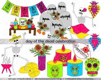 Day of the Dead (Dia de los Muertos) Celebration: Clip Art Pack (300 dpi) Digital Images Halloween Cinco de Mayo