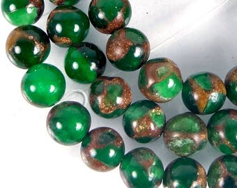 6mm Emerald Green in Quartz with Pyrite / Gold brown Vein Round Beads Full Strand (e7994)