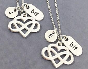 Set of 2 - Bff Jewelry, Best Friend Necklace, Friend Charm, Best Friends, Charm Necklaces, Forever, Friendship Pendant, BFF Jewelry