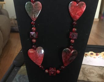 Red and black beaded heart necklace with earrings